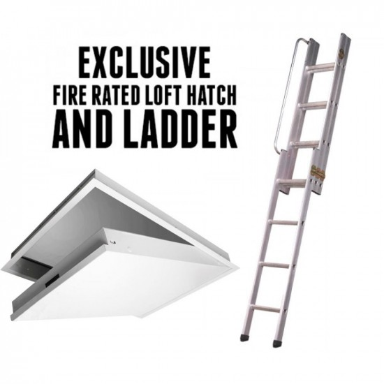 Loft Hatch and Ladder - Fire Rated Attic Hatch - 3 Section Loft Ladder